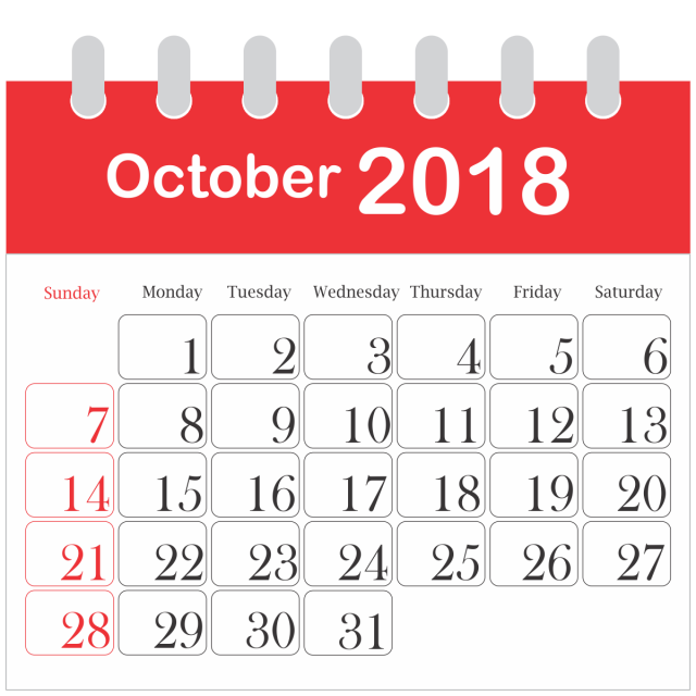 Month Calendar 2018 October, 2018, Icon, Daily PNG