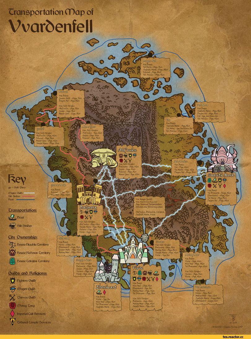 Morrowind The Elder Scrolls Fendomy Karta Teigantulsie Elder