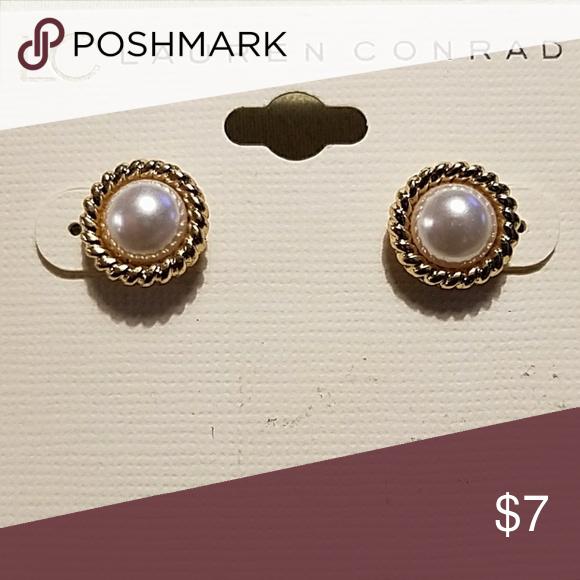 LC Lauren Conrad faux pearl ribbon stud earrings   Lauren ...