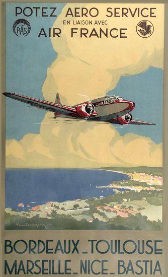 Air France Bordeaux Toulouse Marseille Nice 1935 Vintage Travel