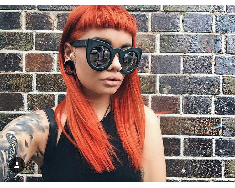 orange hair with short blunt bangs
