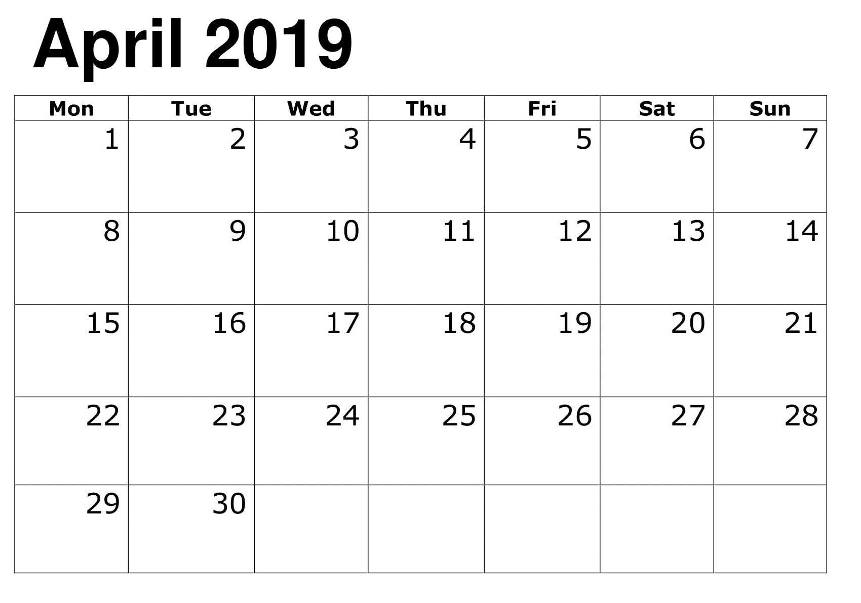 April Online Calendar Template 2019 Calendar Template Online