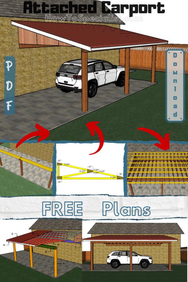 Attached Carport Free Diy Plans In 2020 Diy Plans Carport Carport Designs