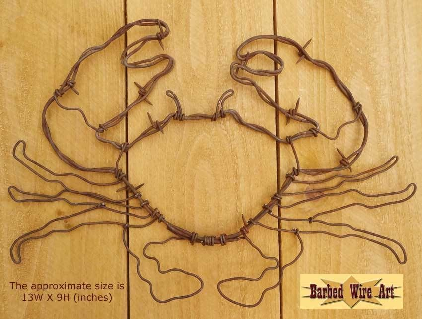 Crab+-+handmade+metal+barbed+wire+art+ocean+beach+lobster+western+ ...