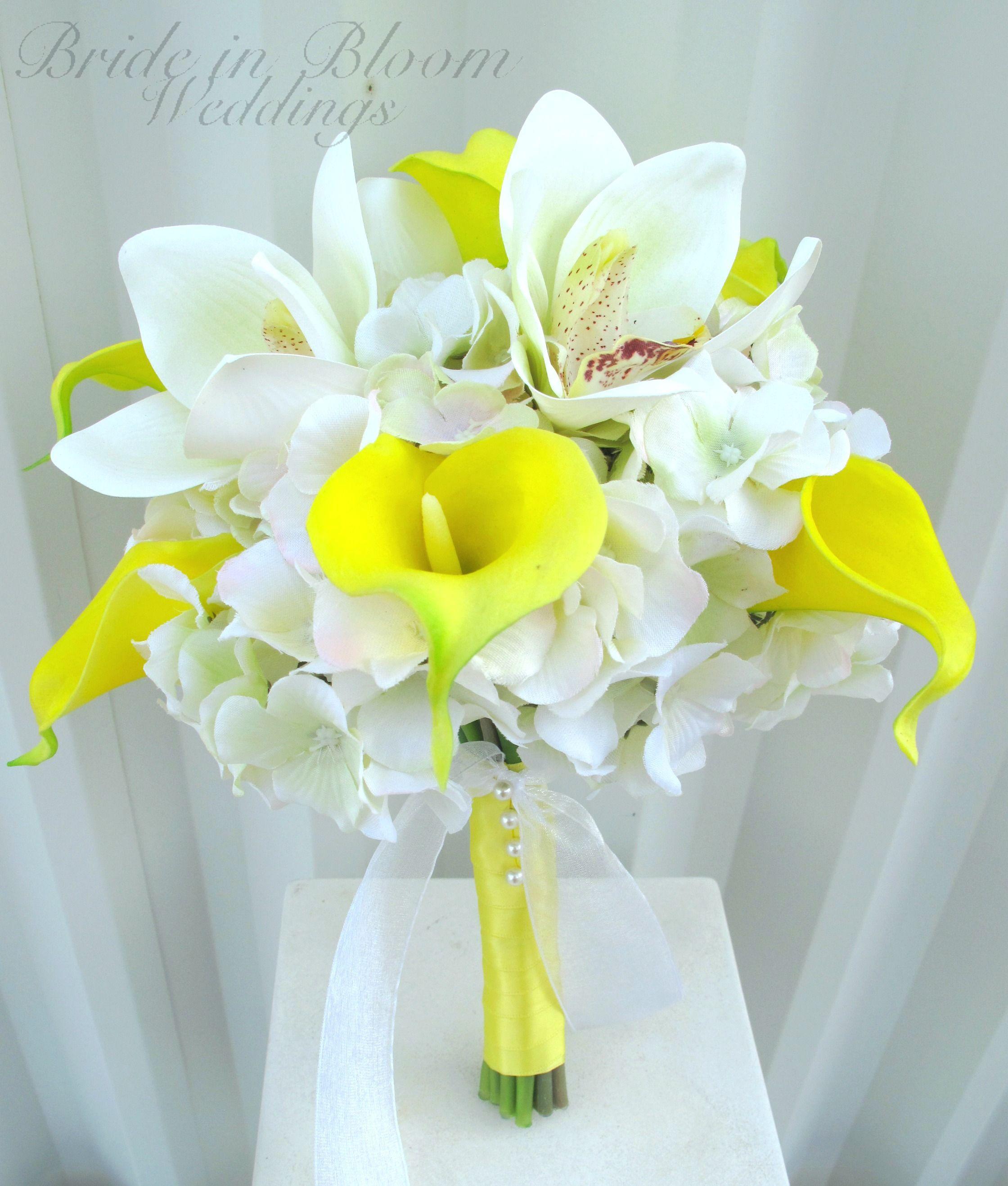 Желтые калл букет невесты купить