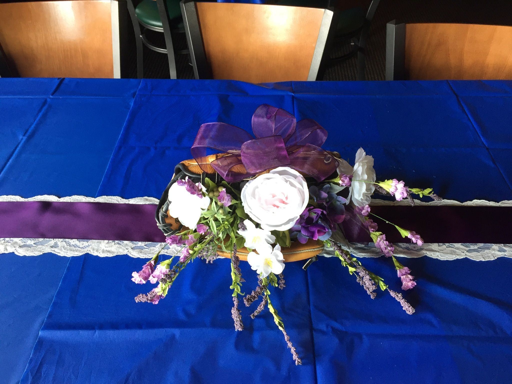 Purple and blue wedding decor  Baseball glove centerpiece for baseball wedding reception  Wedding