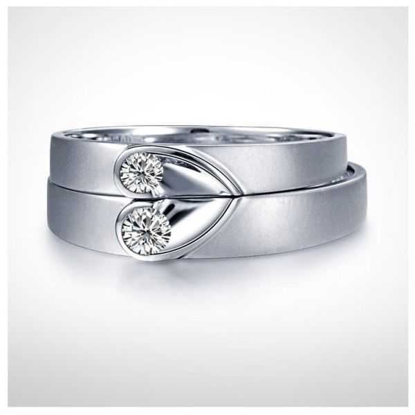 f6df0940b0f0f3 heart band ring | Inexpensive Heart Shape Couples Matching Wedding Band  Rings on Silver .