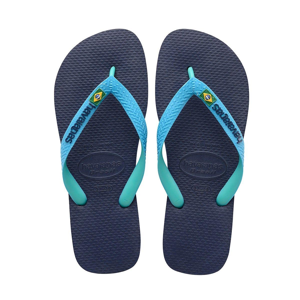 Havaianas Brazil Mix Sandal Navy Blue Turquoise In Brazil Mix Sandal Navy Blue Turquoise Modesens Flip Flop Shoes Womens Flip Flops Chic Sandals