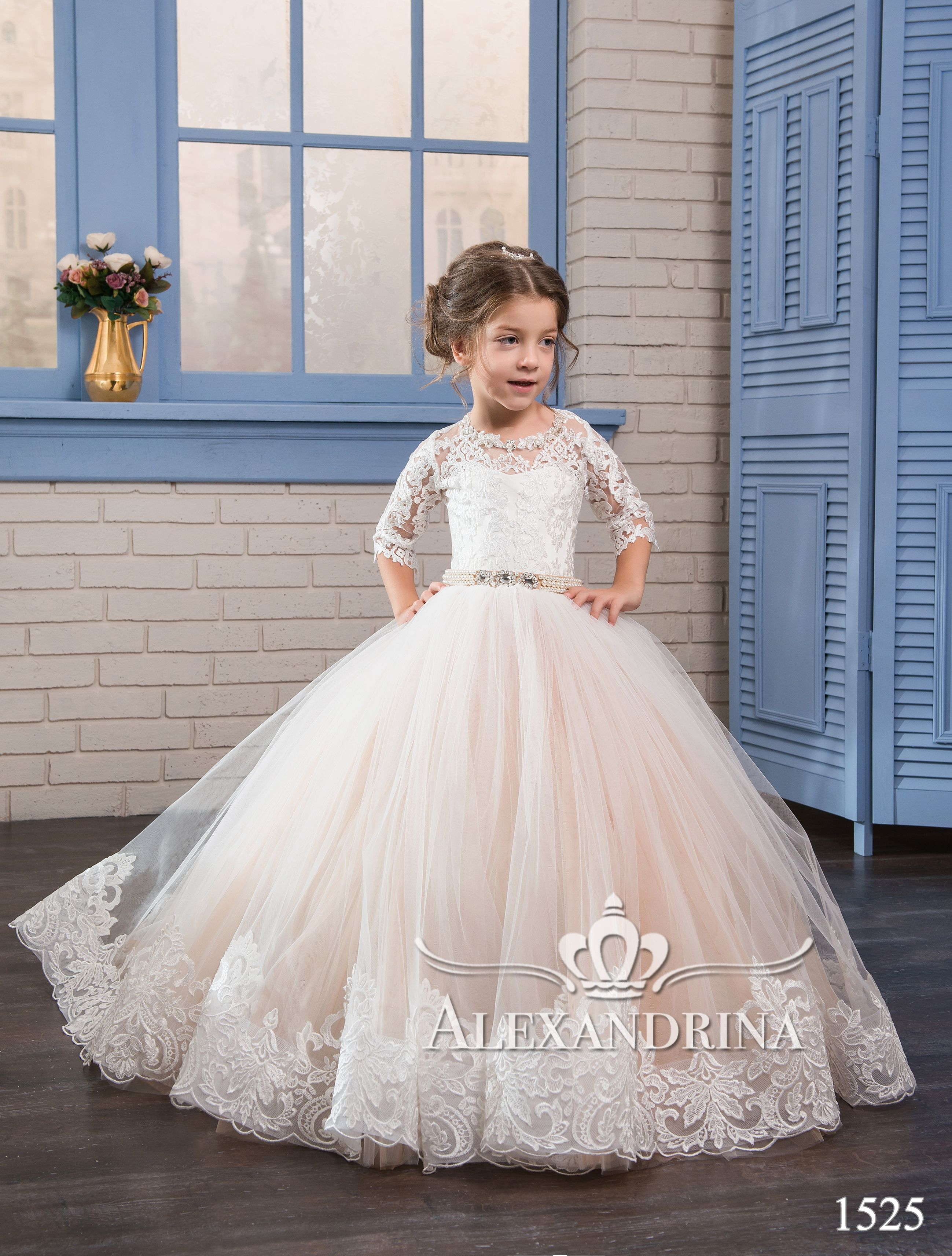 Flower Girls Bow Princess Dress Girls Party Wedding Prom Bridesmaid Gown ZG8