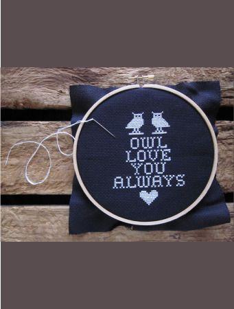 Domestica — do-it-yourself kit - owl love you always cross stitch by Chez-Sucre-Chez