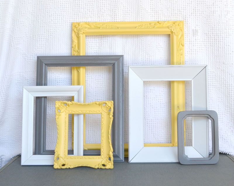 Yellow, Grey/Gray White Vintage Ornate Frames Set of 6- Upcycled