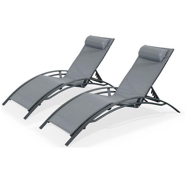 Duo 2 bains de soleil en Aluminium et textilène lounge Louisa ...