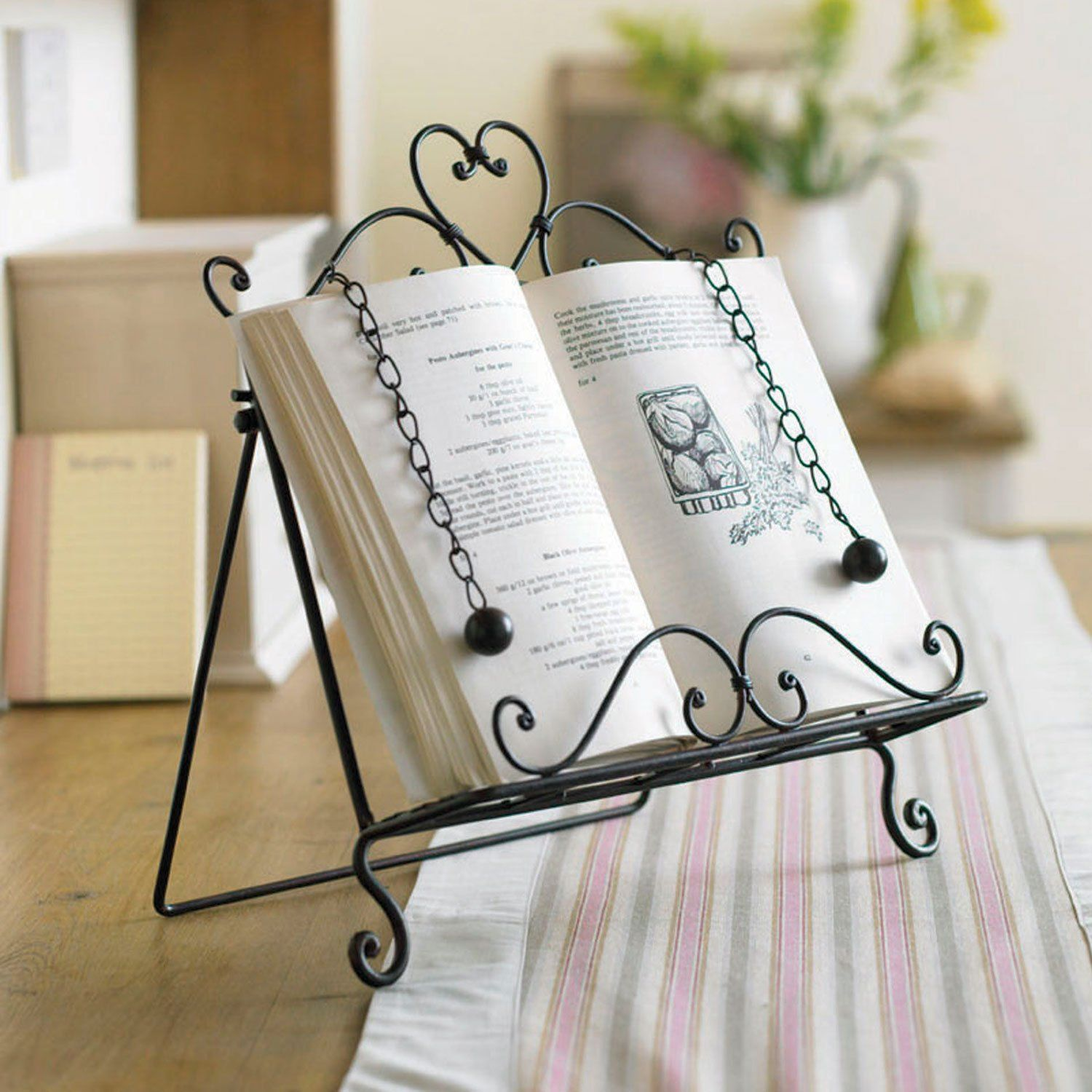 Amelie Wrought Iron Recipe Cook Book Holder Stand