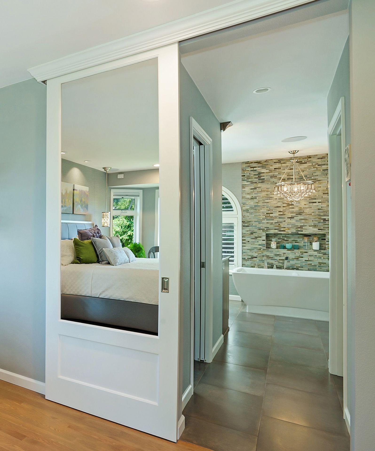 sliding barn door into bath traditional bathroom. Black Bedroom Furniture Sets. Home Design Ideas