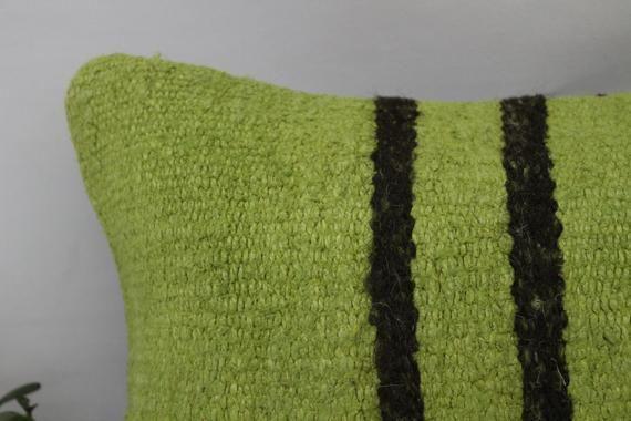 12x20 Rustic Pillow, Traditional Kilim Pillow, Lumbar Pillow Cover,Hemp Pillow,Flat Pillow,Green Pil