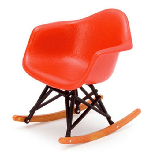 DOLLHOUSE MINIATURE Red Eames Rocker Modern Mid Century Chair 1:12 NEW
