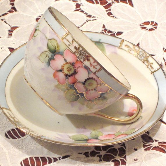 Antique Nippon Teacups and Saucers Set of 4
