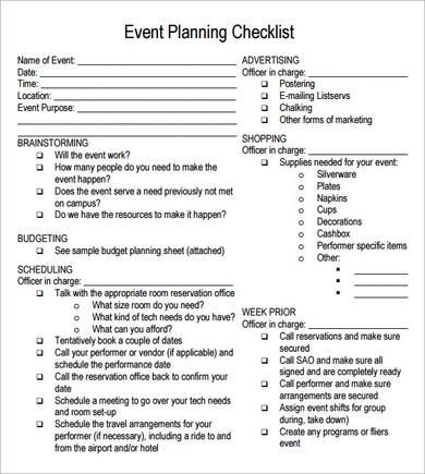 free printable party planning papers Event Planning Checklist - event coordinator resume