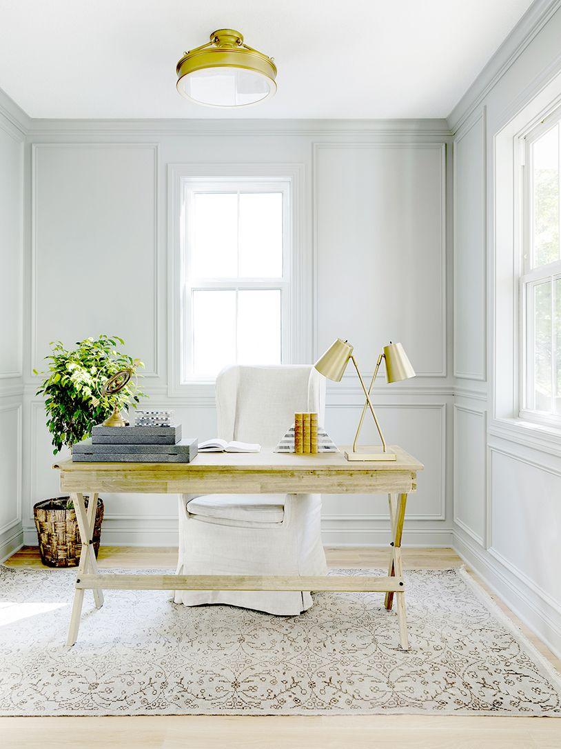 Light & Airy Modern Farmhouse Home Office with Brass Light