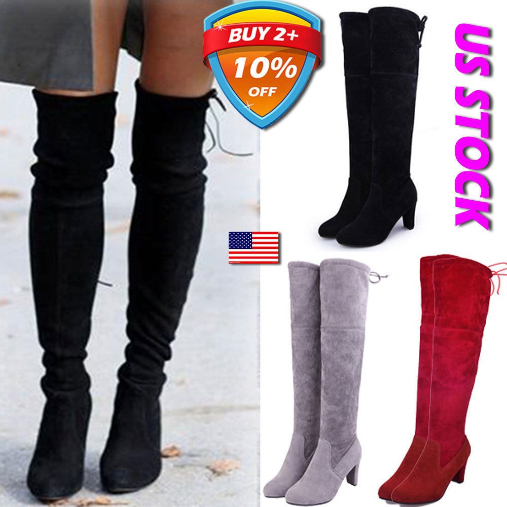 Women Ladies Suede Over The Knee Boots Shoes Block High Heel Thigh Stretch Shoes