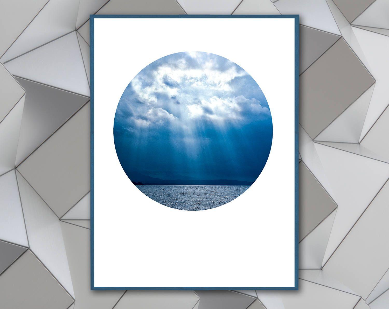 Sky poster sun bean ocean circle wall art printable art circle