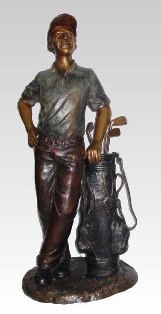 Golfer With Bag Bronze Sculpture, Outdoor Golf Statues