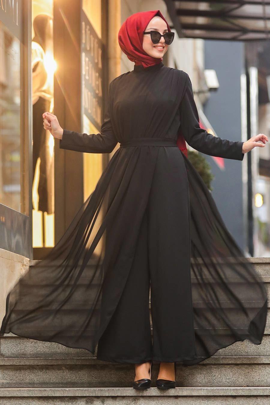 Tesetturlu Abiye Elbise Tullu Siyah Tesettur Abiye Tulum 51182s Tesetturisland Com 2020 Elbise Moda Stilleri The Dress