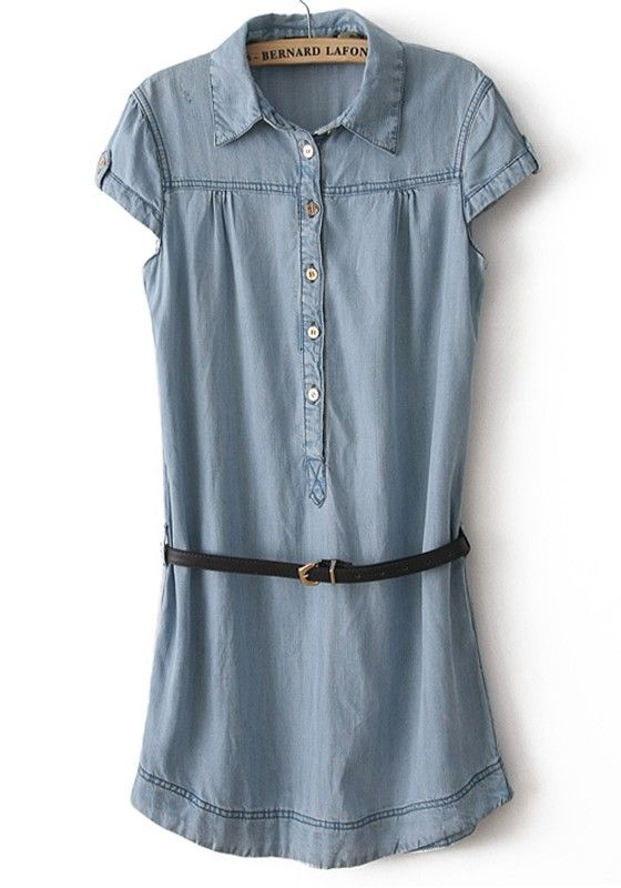 Light Blue Belt Lapel Short Sleeve Denim Dress