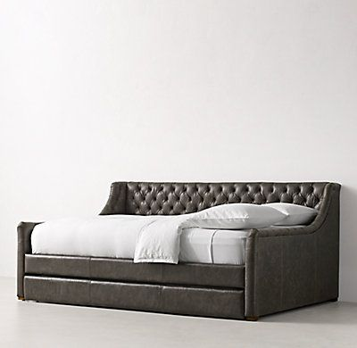 Devyn Tufted Leather Daybed With Trundle - Weathered Oak P N - Daybed Images