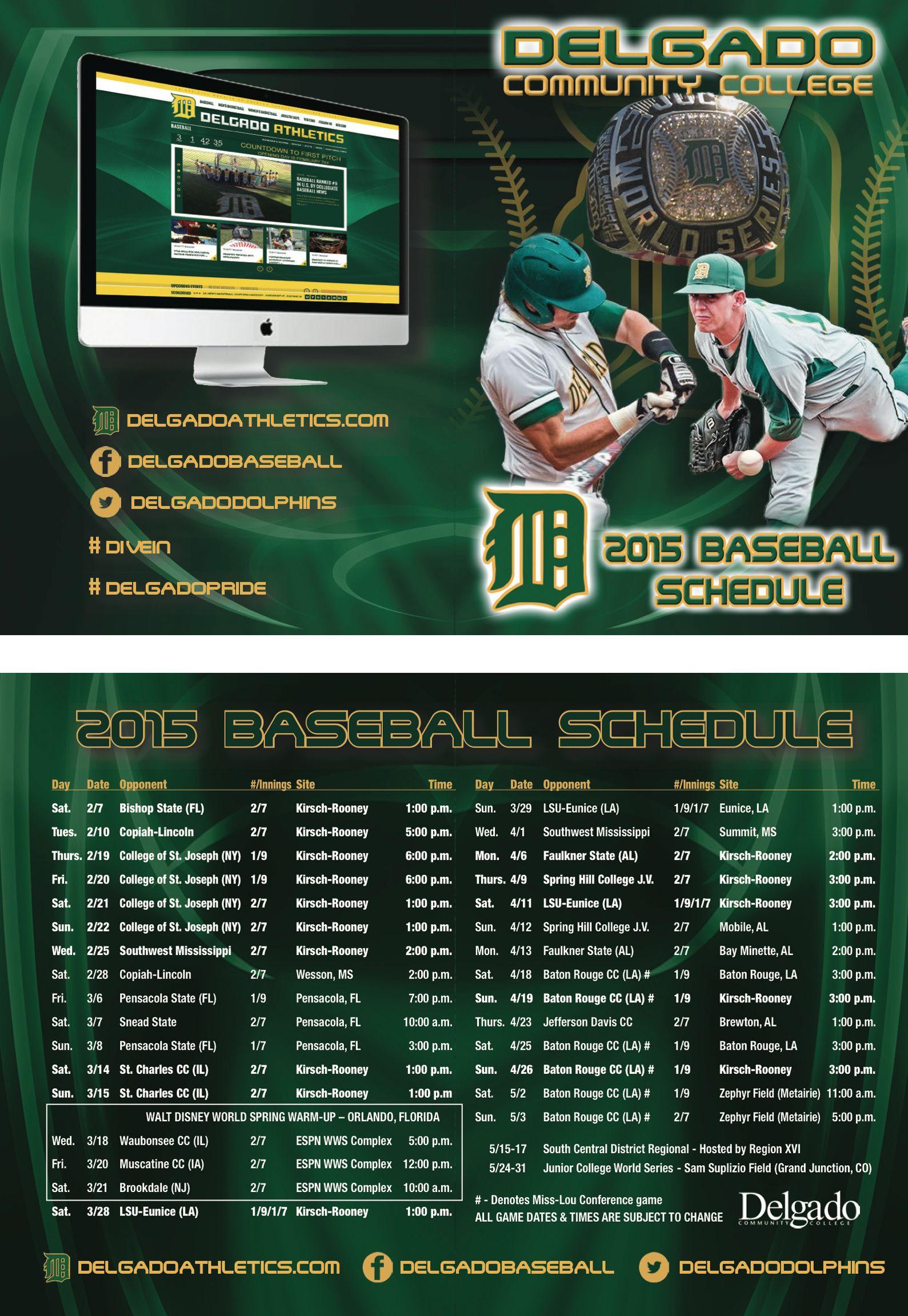 Delgado Community College La Baseball Schedule Card