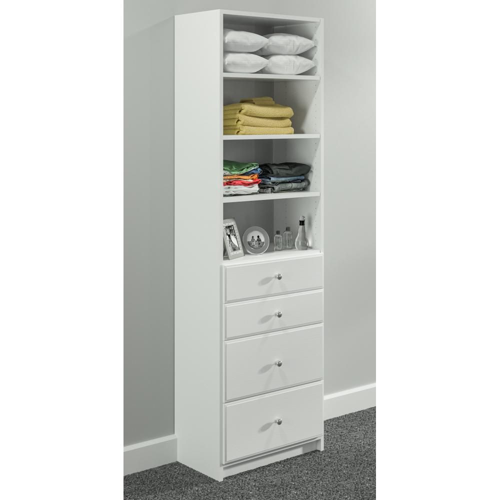 Simplyneu 84 In H X 25 375 In W White Drawer And Shelving Tower Kit Snt5 Wh Wood Closet Systems Storage Closet Organization White Drawers