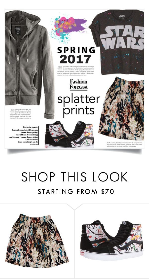 """Splatter Prints"" by dolly-valkyrie ❤ liked on Polyvore featuring H&M, Rachel Roy, Vans and paintiton"
