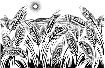 Landscape With Wheat Field Vector Art Illustration Art Farm Logo
