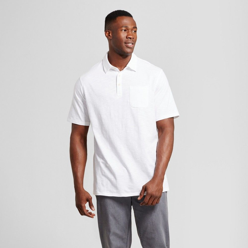 e0968ae8 Men's Big & Tall Standard Fit Short Sleeve Solid Jersey Polo Shirt -  Goodfellow & Co White 3XBT