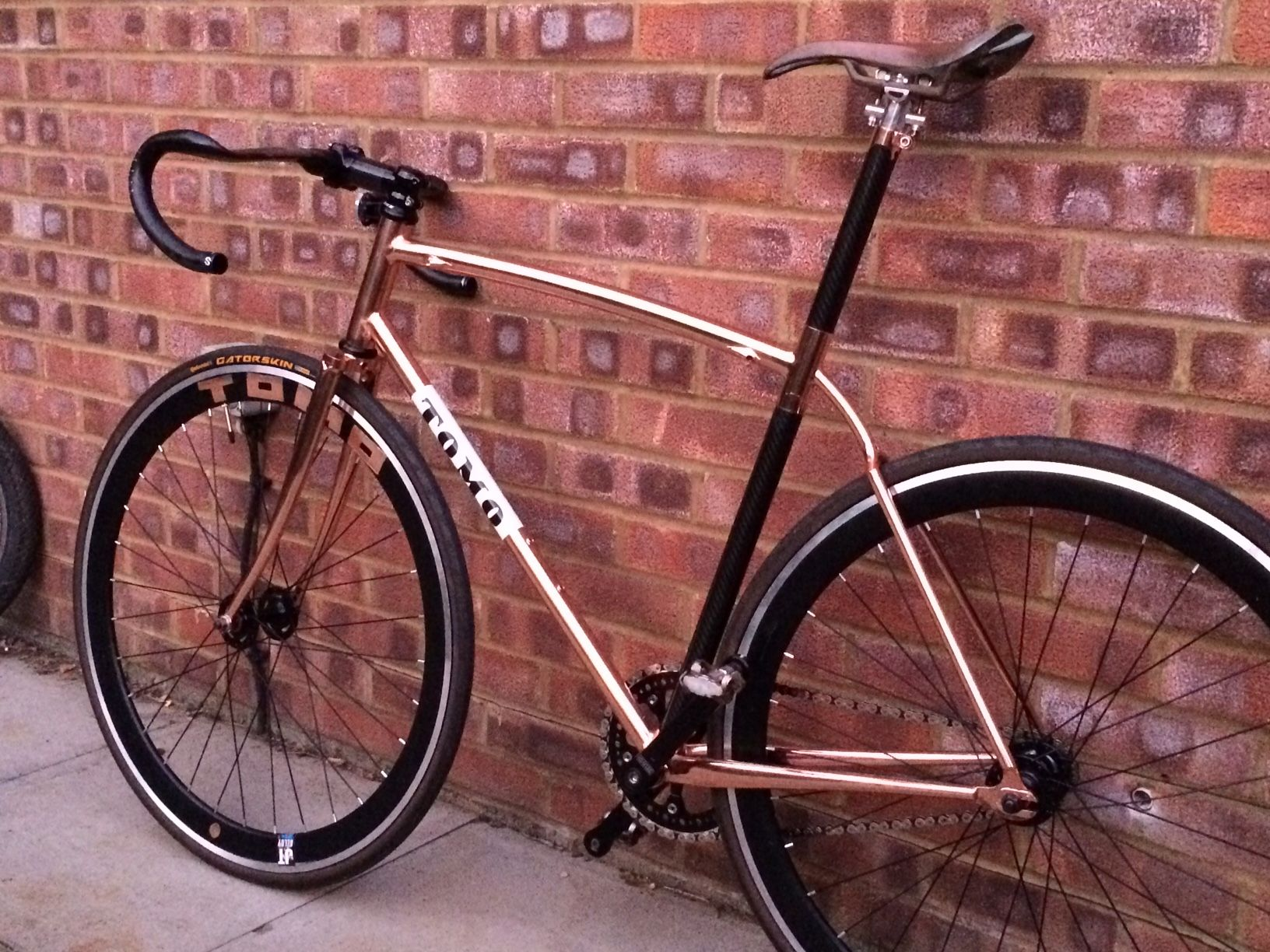 Tomobikes copper coated fixie frame, carbon seat post, wishbone ...