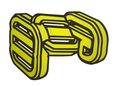 """Title : """" yellow chain"""" Acrilic on cut paper  pasted on carboard. 70 x 50 cm Signed: Alfonso Cintado 2010. 450 $"""