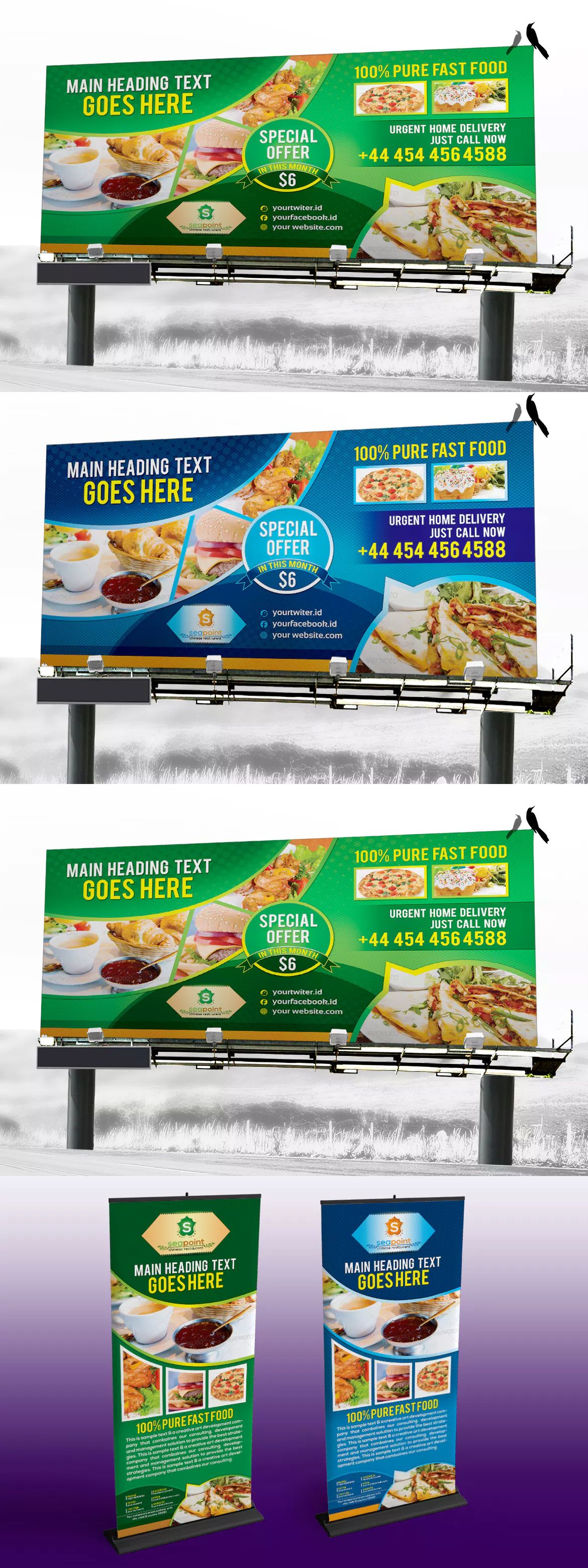 Fast Food Restaurant Signage Solution Pack Template PSD