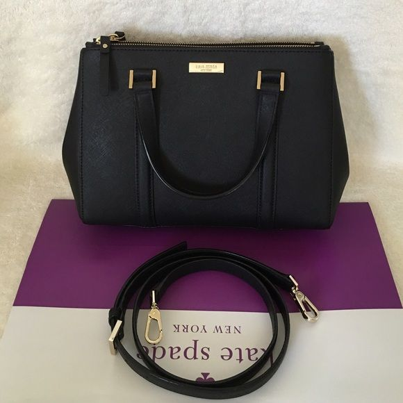 """⚜Kate Spade⚜Newbury Lane Loden Small ✨Brand New With Tag and Bag, Guarantee Authentic✨ Available on Ⓜ️erc for less  Color: black Size: Small Details: Satchel with snap closure and an adjustable, removable strap Dual interior slide pockets, two zipper, compartments, and interior zipper pocket Gold Kate Spade New York signature 8.2x10.9x4.7  drop length 4.3"""" handle  14 karat light gold hardware   #katespade #katespadebag kate spade Bags Satchels"""