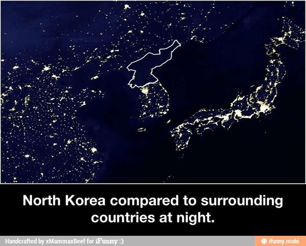 North korea at night ifunny shared board cause to pause the nighttime satellite image above shows a small section of night lights in asiato the north and south are china and south korea respectively gumiabroncs Choice Image