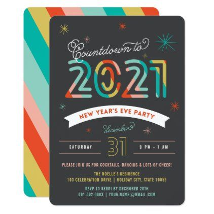 Colorful 2021 New Year's Eve Modern Holiday Party Invitation | Zazzle.com (With images ...