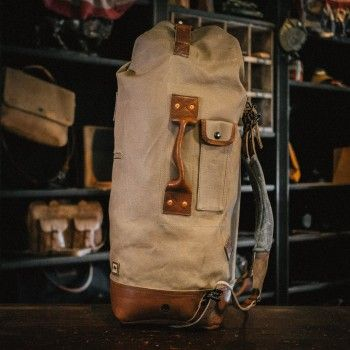 7a46bb40a089 Yosemite Vintage Military Duffle Backpack Bag - Waxed Canvas & Leather -  Field Khaki