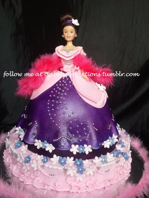 Barbie\'s Ball Gown Cake in Purple and Pink | Barbie / Doll Cakes ...