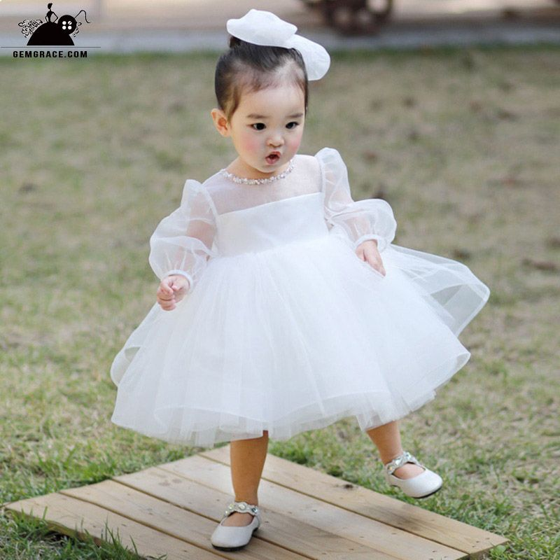 02b2335585b Super Cute White Tutu Flower Girl Dress With Bubble Sleeves  TG7047 -  GemGrace.com