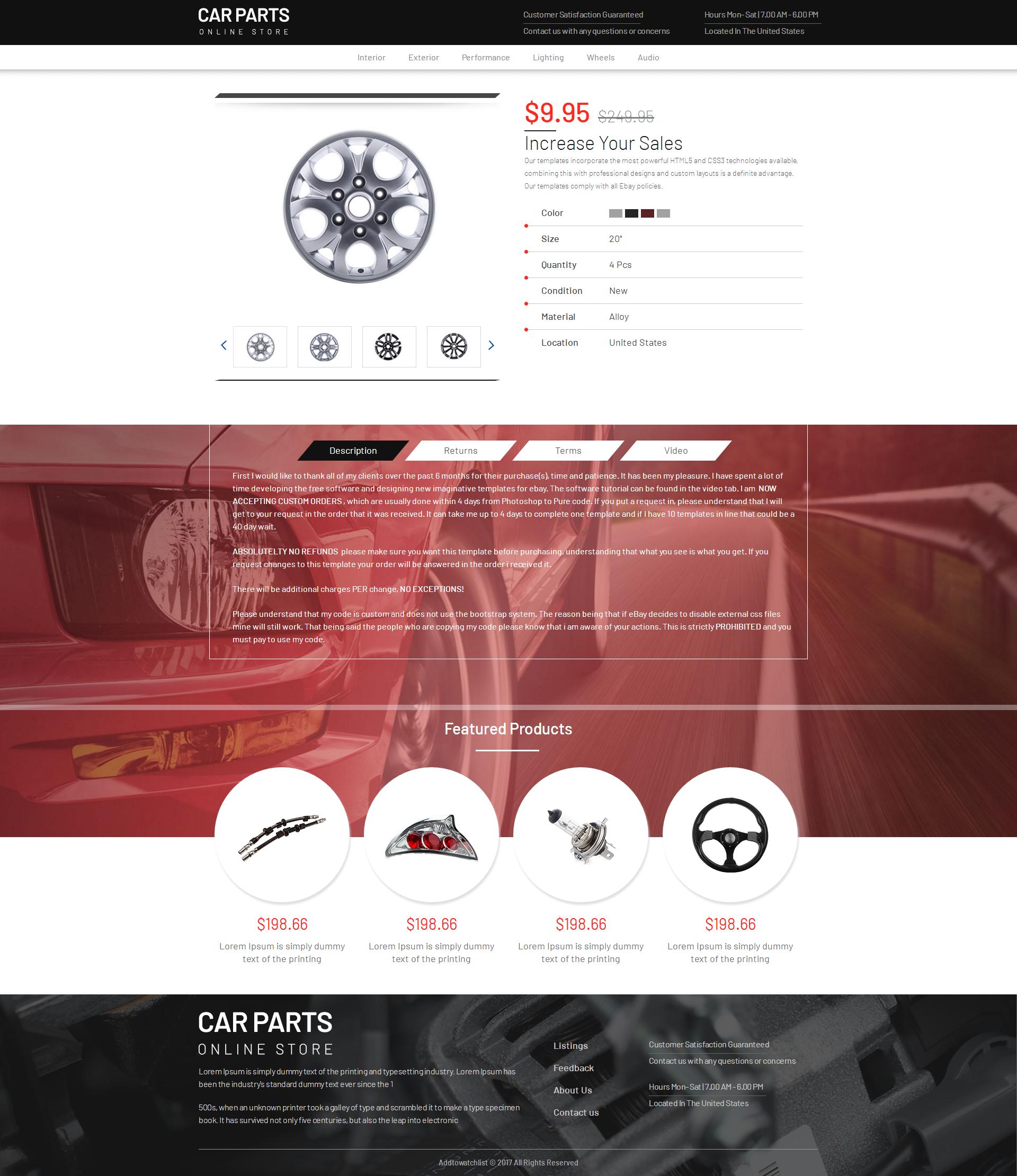 2018 Compliant Premium Responsive Ebay Auction Listing Template Car ...