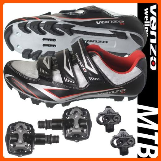Venzo Mountain Bike Bicycle Cycling Shimano Spd Shoes Pedals