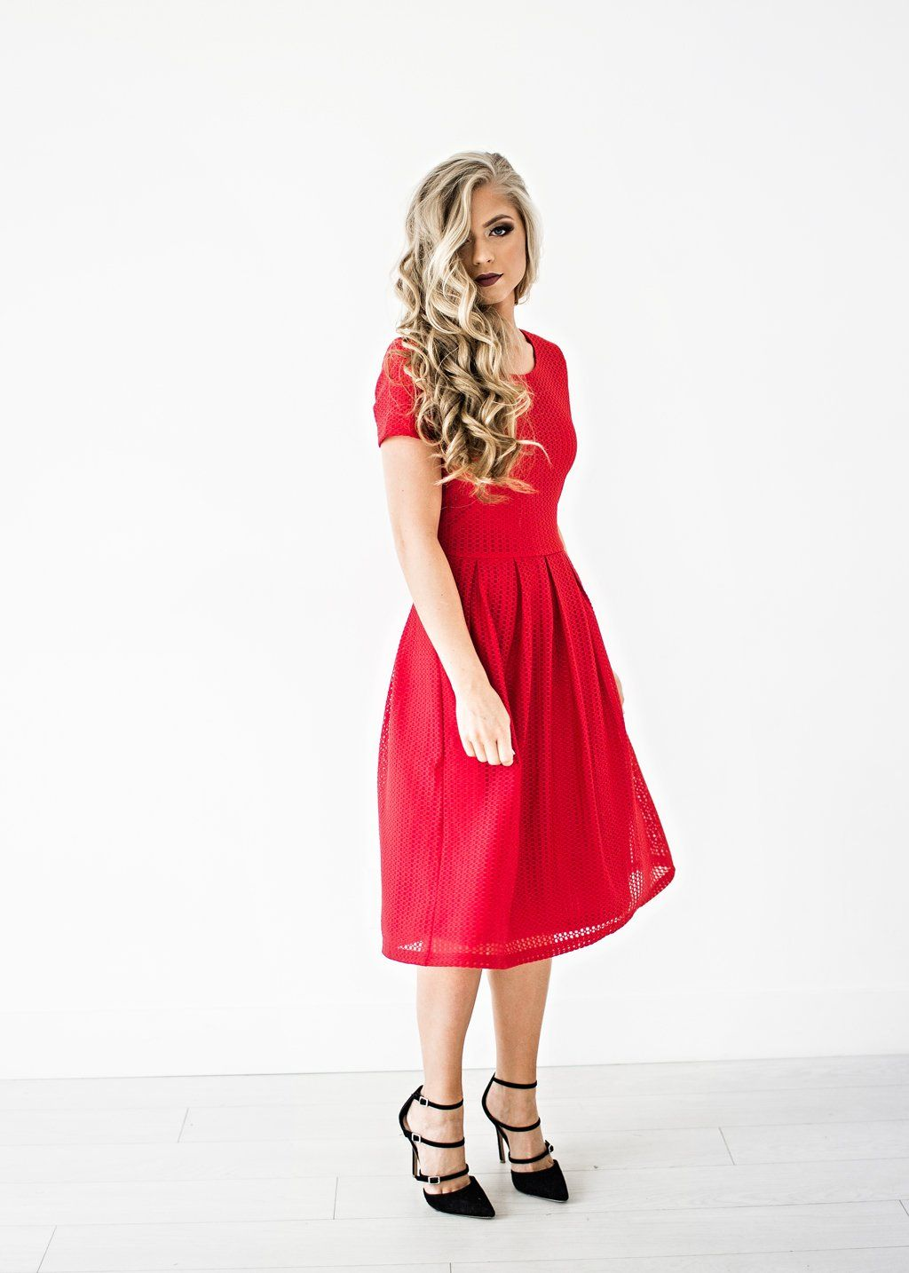 46d467967158 Winslow Cherry Red Dress, holiday dress, christmas dress, embroidered,  makeup, blonde hair, jessakae, style, fashion, ootd, holiday hair and  makeup, red ...