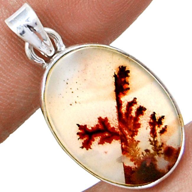 Scenic Dendrite Agate 925 Sterling Silver Pendant Jewelry SDAP2212 - JJDesignerJewelry