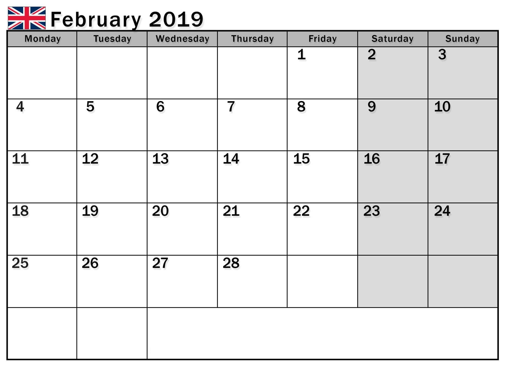 February 2019 Calendar Uk Printable With Holidays With Images