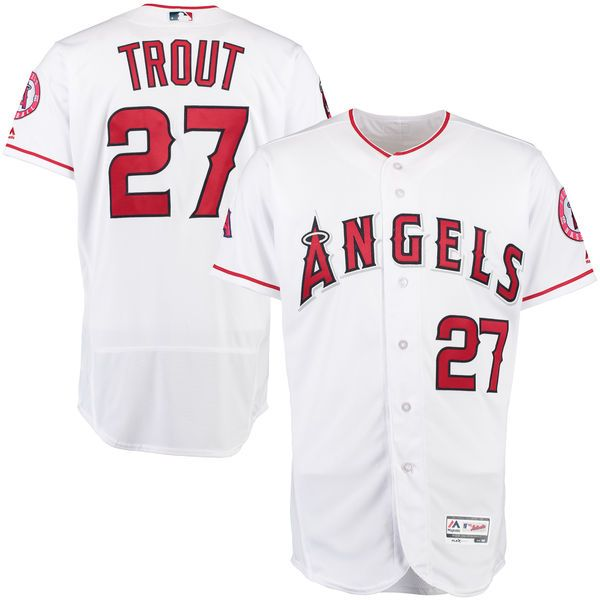 timeless design 207bf 81c78 Mike Trout Los Angeles Angels Majestic Home Flex Base ...