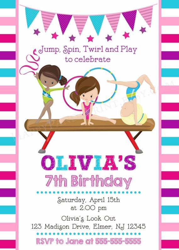 GYMNASTICS Invitation Gymnastics Birthday Invite Party Gym
